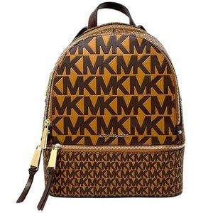 Zip Medium Backpack, Leather, Acorn/Multicolor